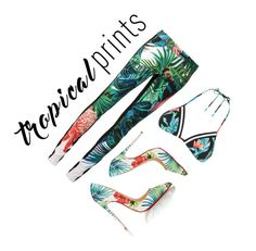 """prints"" by jdmplusarlever ❤ liked on Polyvore featuring Roberto Cavalli, Seafolly, Christian Louboutin, tropicalprints and hottropics"