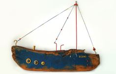 Big Decorative Wooden Wall Hanging Ship | This is a handmade and hand painted wall decor inspired by the Mediterranean sea.