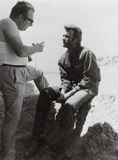 Sergio Leone and Clint Eastwood on-set of The Good, The Bad, and the Ugly (1966)