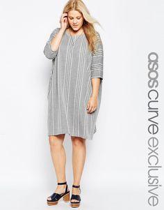 ASOS+CURVE+T-Shirt+Dress+in+Stripe+&+Chevron+Jacquard