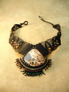 Leopardine Jasper Statement Necklace in Micro Macrame by Elquino