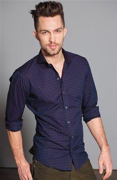 Purple, black and blue mini gingham check sport shirt