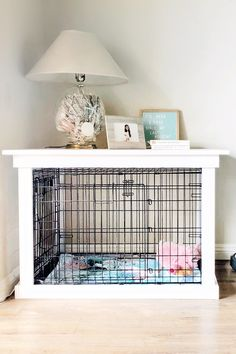 This DIY Dog Crate Furniture Piece Will Transform Your Living Room. This DIY Dog Crate Furniture Piece Is Easy to Make and Surprisingly Chic. The crown jewel in my living room is the crate for my pup that looks like a piece of furniture. Interior Design Living Room, Living Room Decor, Design Bedroom, Dog Crate Furniture, Furniture Ideas, Lounge Furniture, Furniture Dog Kennel, Luxury Furniture, Vintage Furniture