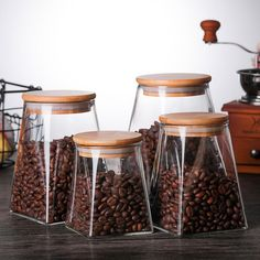 Kitchen Storage Containers, Glass Food Storage, Cereal Containers, Jar Storage, Glass Containers, Bamboo Containers, Coffee Jars, Glass Spice Jars, Glass Jars With Lids