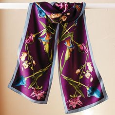 Painterly Blossoms Scarf ~ 100% silk in rich vibrant colors
