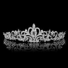 Trendy  Silver Plated High Quality Shiny Austrian Crystal Wedding Party Show Crown Tiara Hairband Bridal Hairwear  Accessary