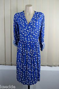 Size XL 16 Ladies Blue Floral Tunic Dress Casual Boho Chic Festival Design | eBay
