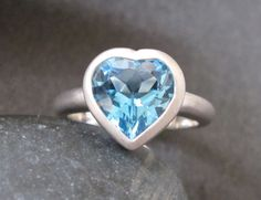 Blue Topaz Heart Shaped Ring in Sterling Silver by Belesas on Etsy, $249.99