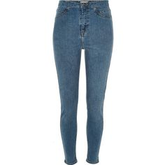 River Island Mid blue wash Molly high rise jeggings ($80) ❤ liked on Polyvore featuring pants, leggings, jeans, high rise jeggings, zipper leggings, skinny jean leggings, denim jeggings and high waisted jean leggings