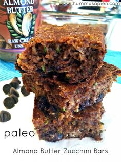 No flour, no butter, no sugar! Paleo Almond Butter Zucchini Bars