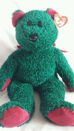77aad5bac69 Ty Beanie Babies Buddy Teddy Bear 2001 Holiday Bear Green