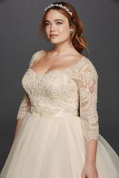 Oleg Cassini Plus Size Organza 3\/4 Wedding Dress Style 8CWG731 | Pretty Pear Bride