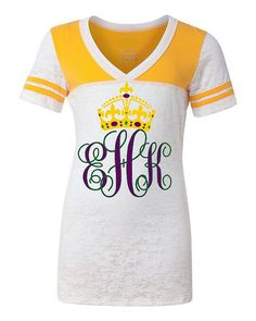PERSONALIZED Monogram Initials MARDI GRAS Shirt, Junior Fit Burnout  So Cute! on Etsy, Sold