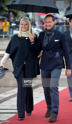 Crown Princess Mette-Marit of Norway and Crown Prince Haakon of Norway leave to attend a lunch on the Norwegian Royal Yacht 'Norge' as part of the celebrations of the 80th Birthdays of King Harald of Norway and Queen Sonja of Norway on May 10, 2017 in Oslo, Norway.  (Photo by Julian Parker/UK Press via Getty Images)