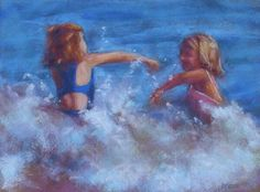 pastel paintings, portraits, fine art, children, beaches, water, waves, figure work, artists