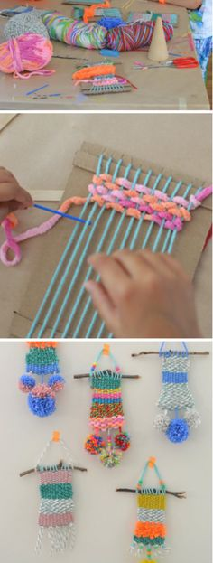 Recycled crafts for kids, crafts for children, diy crafts with yarn, yarn. Kids Crafts, Recycled Crafts Kids, Projects For Kids, Diy For Kids, Diy And Crafts, Craft Projects, Arts And Crafts, Weaving Projects, Crafts For Children