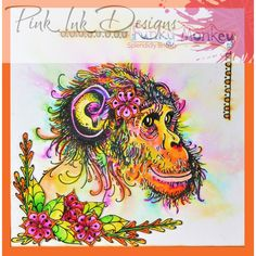 Pink Ink Designs Stamp - Funky Monkey - Crafts 4 Less Monkey Crafts, Happy Birthday Gorgeous, Lavinia Stamps, Ink Stamps, Animal Cards, Watercolor Cards, Fabric Painting, How To Draw Hands, Card Making