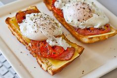 Poached eggs, ham, grilled tomato, and cheese on toasted homemade focaccia