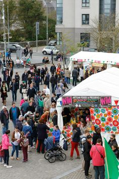Great buzz down at the Festival Village. Photo by John Walsh.