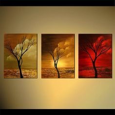 Tree Painting Abstract acrylic Landscape Painting by OsnatFineArt, $580.00