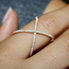 X Ring Cross Ring X Diamond Ring Diamond X Ring Gold by MinimalVS