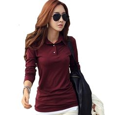 f75da2b281d23 Spring Autumn Casual Polo Women 2017 New Long Sleeve Slim Polos Mujer Black  White Red Tops Plus Size Lady Polo Shirt Femme