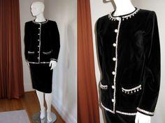 Vintage YSL Yves Saint Laurent Black Velvet Skirt Suit with Rhinestone & Pearl Embellishment Bust 38 Waist 26