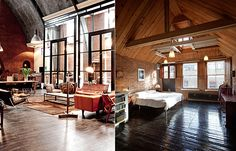 Left: Dutch designer Fons Cohen transformed a former Amsterdam church into a home for his family. Image via Trendland.  Right: British architect Chris Dyson preserved the industrial qualities of a former warehouse when he converted it to a residence in the Shoreditch neighborhood of London. Photo by Peter Landers.