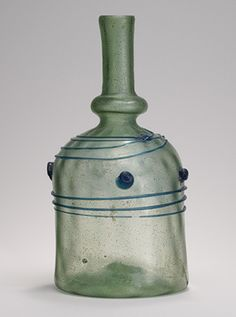 Bottle with Blue Trails and Blobs Object Name : Bottle century Geography : probably Syria Culture : Islamic Medium:Glass; mold blown with applied decoration Dimensions : H. Antique Bottles, Antique Glass, Medieval Art, Dark Ages, 12th Century, Ancient Artifacts, Islamic Art, Archaeology, Glass Bottles
