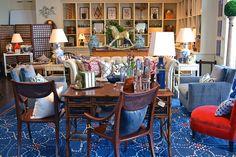Beautiful faux #bamboo and #chinoiserie #desk vignette with #bright #blue and #crimson decor at #Dallas #Mecox #interiordesign #MecoxGardens #furniture #shopping #home #decor #design #room #designidea #vintage #antiques #garden
