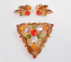 Open Back Amber Glass & Colored Rhinestone Brooch Earrings by Libbysmomsvintage, $49.99