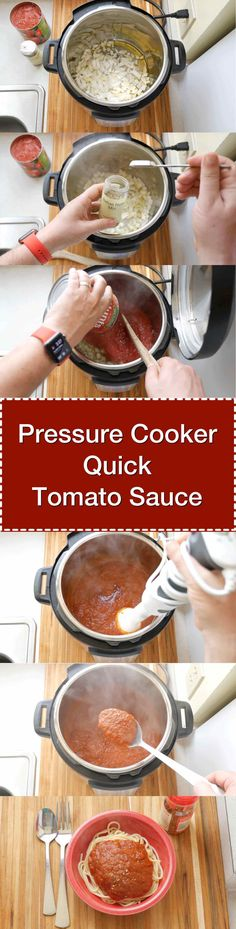 Pressure Cooker Quick Tomato Sauce recipe - 15 minutes under pressure gives you a fantastic pasta sauce. Digital Pressure Cooker, Power Pressure Cooker, Instant Pot Pressure Cooker, Pressure Cooker Recipes, Pressure Cooking, Slow Cooker, Quick Tomato Sauce Recipe, Tomatoe Sauce, Crockpot Recipes