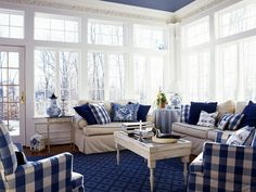 Blue and White Living Room Color Ideas Picture