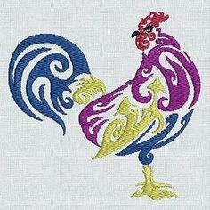 Embroidered Roosters and Hens