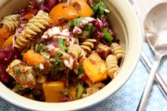 sundried tomato pesto pasta salad with chicken and veggies -- can be made gluten or dairy free!