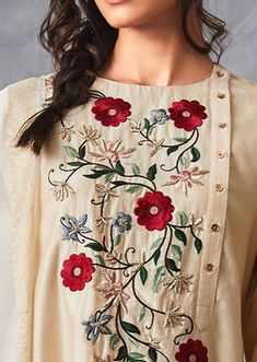 Cream Straight Suit In Cotton Silk With Center Panel In Floral Resham Embroidery Online - Kalki Fashion Embroidery On Kurtis, Embroidery Online, Hand Embroidery Dress, Kurti Embroidery Design, Embroidery On Clothes, Embroidered Clothes, Embroidery Fashion, Embroidery Patterns, Folk Embroidery