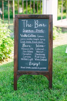 Hand-Lettered Chalkboard Cocktail Sign