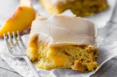 Brown Sugar Peach Cake ~ I can't think of another cake that deserves to be crowned 'cake of the summer' more than this luscious little snack cake.
