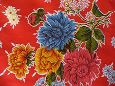 oilcloth sample - mums on red background - from MexicanSugarSkull.com