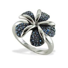 White Gold Plumeria Ring with Pavé Blue Sapphires - Plumeria Jewelry - Collections