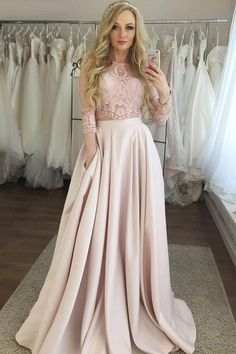 Two Piece Sleeves Floor-Length Pink Satin Prom Dress with Lace Pockets A-Line Prom Dress Lace Prom Dress Two Pieces Prom Dress Pink Prom Dress Prom Dress Long Prom Dresses 2020 Prom Dresses With Pockets, Prom Dresses Two Piece, Pink Prom Dresses, Cheap Prom Dresses, Dress Prom, Formal Dress, Party Dresses, Prom Gowns, Pink Evening Dress