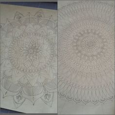 2 mandala, 1 Mix... Je fais lequel? ☺ Which of these mandalas do you prefer?  #Mix #mandala #mandalala #inspiration #meditation #concentration #zentangle #zen #workinprogress #process #precision #creation #creativity #paper #paperart #papercut #handcut #handdrawn #homemade #madeinfrance #art #arts_gallery #artwork #decor #walldecor #frame