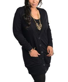 Take a look at this Black V-Neck Tunic Cardigan - Plus by Ami Sanzuri on #zulily today!