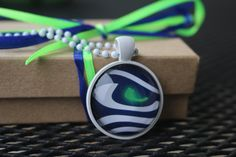 1 SEATTLE  SEAHAWKS   Glass Pendant and Necklace NFL Football Fan 25mm Round 2015 by myrockart on Etsy