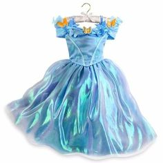 Disney Store Authentic Girls Cinderella Live Action Blue Butterfly Costume Dress 56 -- Click image for more details. Robes Disney, Disney Costumes, Girl Costumes, Halloween Costumes, Cinderella Dress Disney, Disney Dresses, Cinderella Cosplay, Cinderella Princess, Cinderella Party