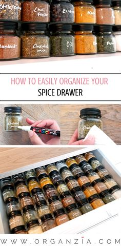 Check out how I organized my kitchen spice drawer using glass jars. Get all the details, and see how you can easily get your own organized spice drawer! #organized #organizedkitchen #spicedrawer #organizedspices