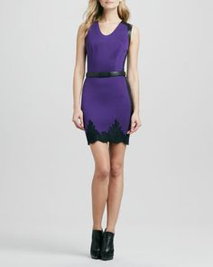 Belted Two-Tone Lace-Trim Dress by Robert Rodriguez at Neiman Marcus.