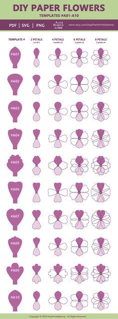 DIY Paper Flowers Printable Template - Wedding and Nursery Decor