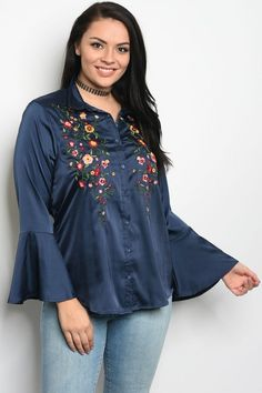 6742748c69b S12-2-5-T38577X NAVY PLUS SIZE TOP 2-2-2. Satin TopPlus Size TopsFloral  EmbroideryBell Sleeve ...