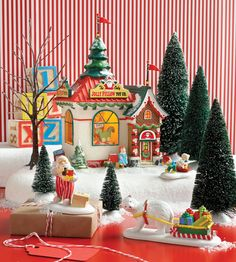"""Department 56 North Pole Series """"Holiday Special Set Z Christmas Village Decorations, Christmas Village Display, Christmas Town, Christmas Time Is Here, Christmas Villages, Christmas Centerpieces, Christmas Paper, Christmas Carol, All Things Christmas"""